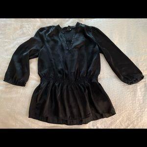 Silky, black, peplum top